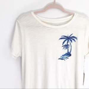 Lucky Brand Cream Blue Embroidered Palm Tree Tee